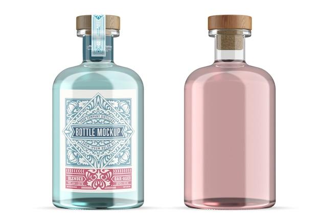 Maquete de garrafa de vidro de gim isolada