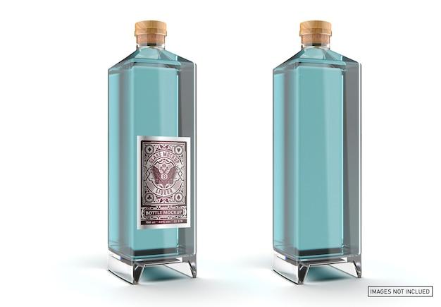 Maquete de garrafa de vidro de licor