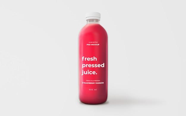 Maquete de garrafa de vidro de suco de morango totalmente editável