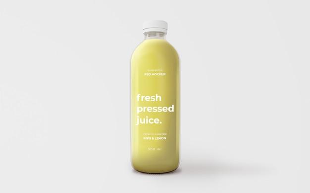 Maquete de garrafa de vidro de suco verde totalmente editável