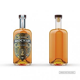 Maquete de garrafa de vidro de uísque frente e verso