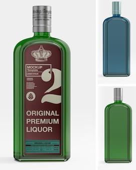 Maquete de garrafa de vidro de uísque isolada