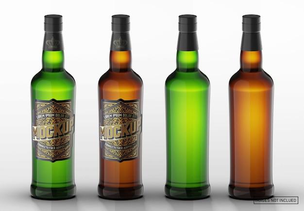 Maquete de garrafa de vidro de uísque