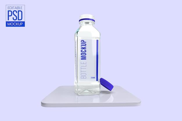 Maquete de garrafa de vidro transparente