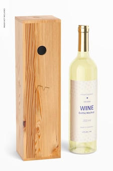 Maquete de garrafa de vinho 350ml com caixa de madeira