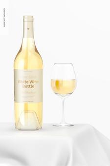 Maquete de garrafa de vinho branco de vidro transparente, vista frontal