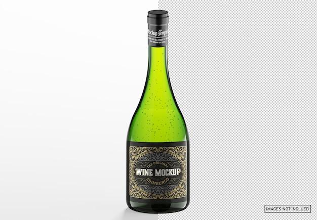 Maquete de garrafa de vinho branco de vidro transparente