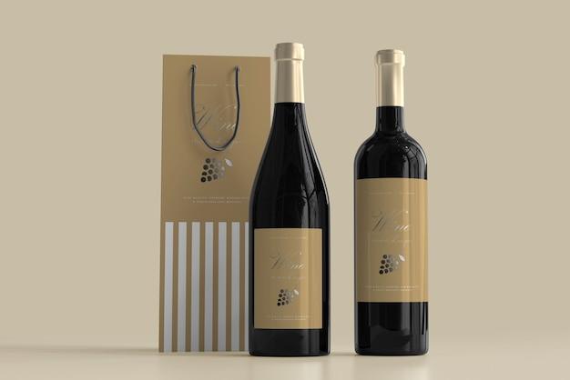 Maquete de garrafa de vinho com bolsa