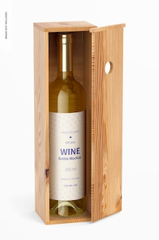 Maquete de garrafa de vinho de 350ml, vista frontal