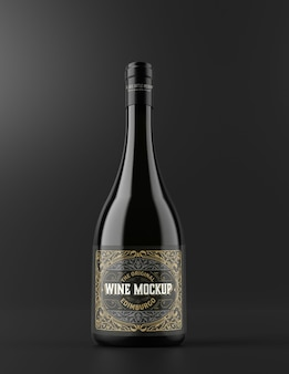 Maquete de garrafa de vinho e vidro isolada
