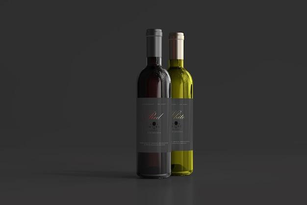 Maquete de garrafa de vinho tinto e branco