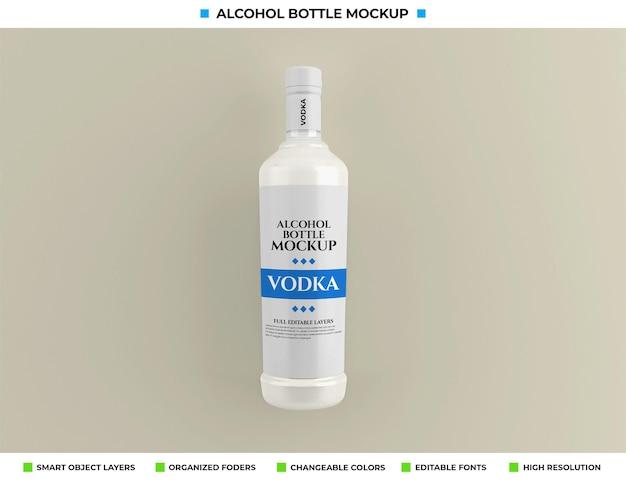 Maquete de garrafa de vodka com álcool no conceito de bebida