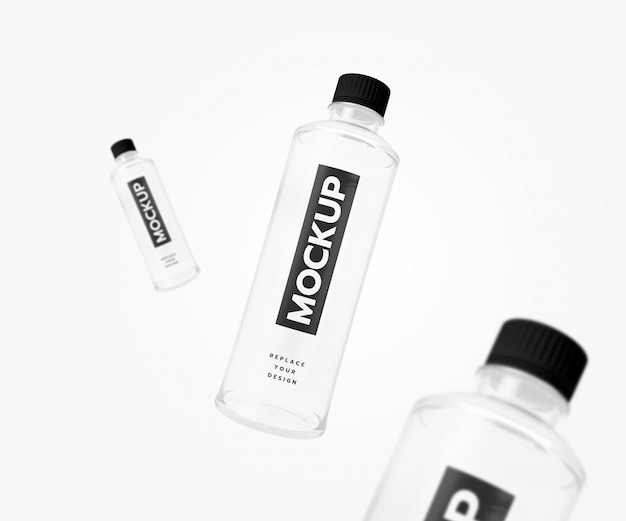 Maquete de garrafa flyer renderização em 3d