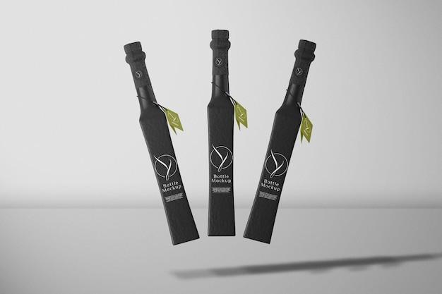 Maquete de garrafa preta de vista frontal
