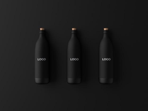 Maquete de garrafa preta fosca