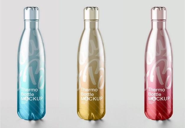 Maquete de garrafa térmica metálica