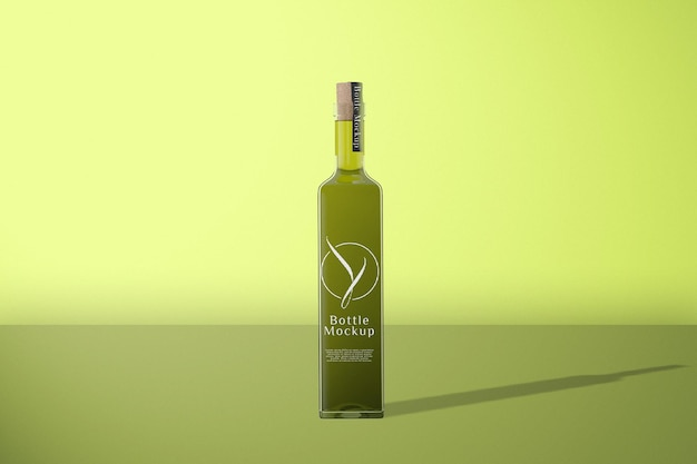 Maquete de garrafa verde de vista frontal