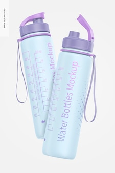 Maquete de garrafas de água de 32 onças, flutuante