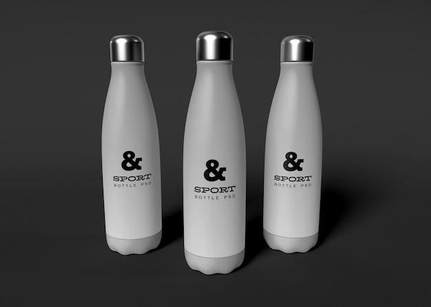 Maquete de garrafas de água esportivas