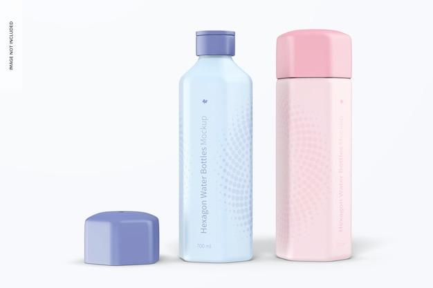 Maquete de garrafas de água hexagonal de 700 ml, vista frontal