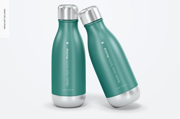Maquete de garrafas de água metálicas de 17 onças, vista frontal