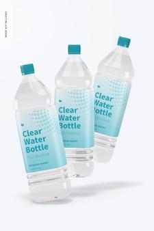 Maquete de garrafas de água transparente de 1l, caindo