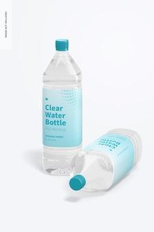 Maquete de garrafas de água transparente de 1l, em pé e caídas