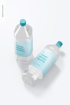 Maquete de garrafas de água transparente de 1l, vista superior