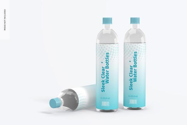Maquete de garrafas de água transparentes de 1l, em pé e caídas