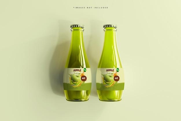 Maquete de garrafas de bebida de vidro