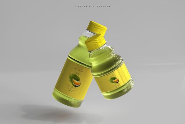 Maquete de garrafas de bebida