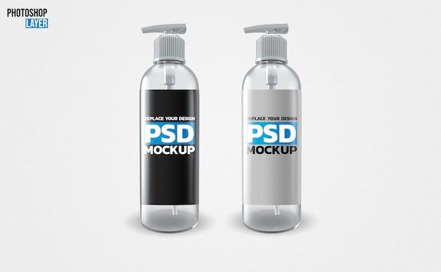 Maquete de garrafas de bomba de sabão