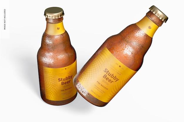Maquete de garrafas de cerveja atarracadas, caindo