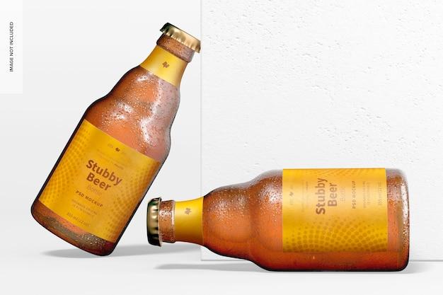 Maquete de garrafas de cerveja atarracadas, enxutas