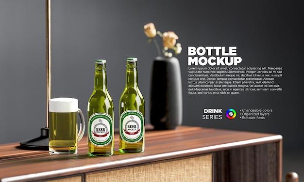 Maquete de garrafas de cerveja em renderização 3d