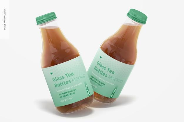 Maquete de garrafas de chá de vidro de 16 onças