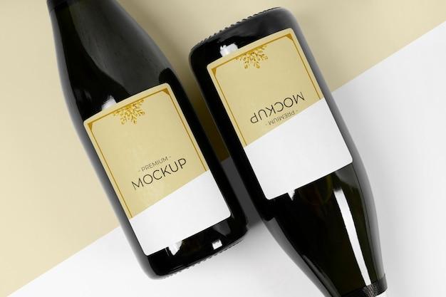 Maquete de garrafas de champanhe plana
