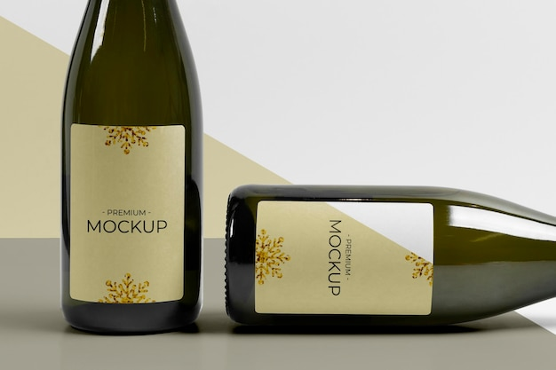 Maquete de garrafas de champanhe verticais e horizontais