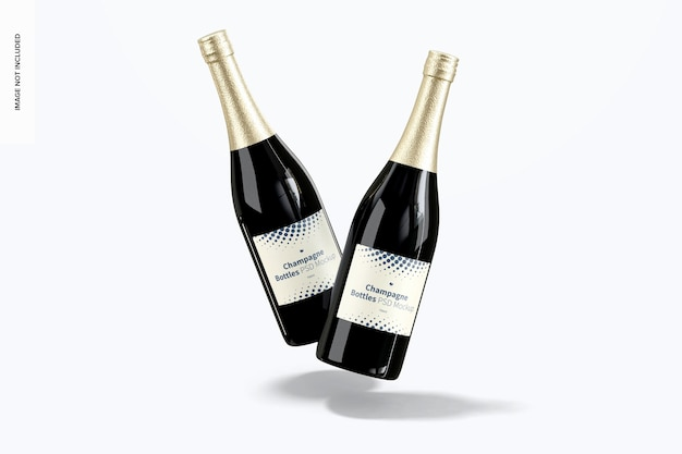 Maquete de garrafas de champanhe, vista frontal