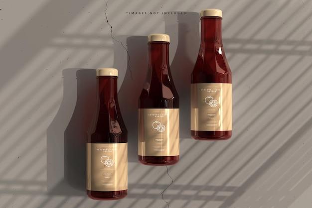 Maquete de garrafas de ketchup ou molho