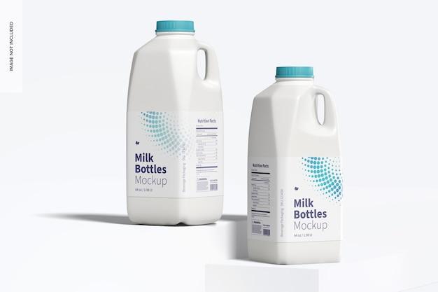Maquete de garrafas de leite de 64 onças, vista frontal Psd grátis