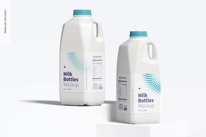 Maquete de garrafas de leite de 64 onças, vista frontal
