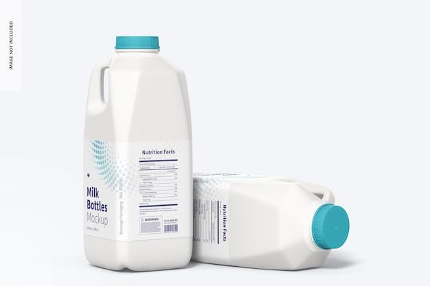 Maquete de garrafas de leite de 64 onças