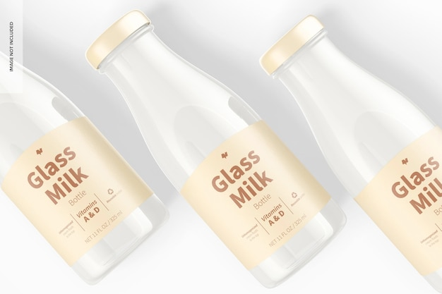 Maquete de garrafas de leite de vidro, close-up