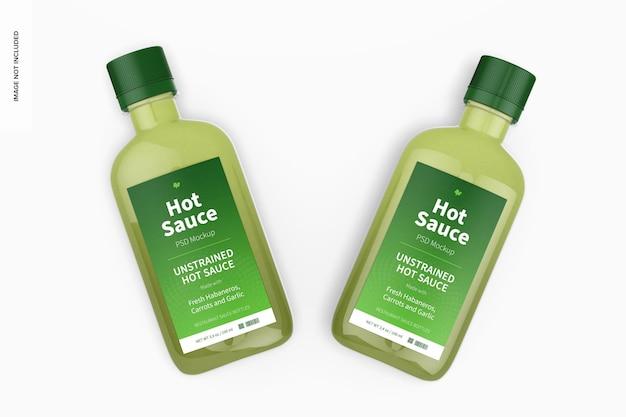 Maquete de garrafas de molho picante de 100 ml