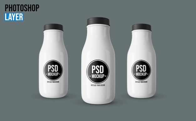 Maquete de garrafas de plástico