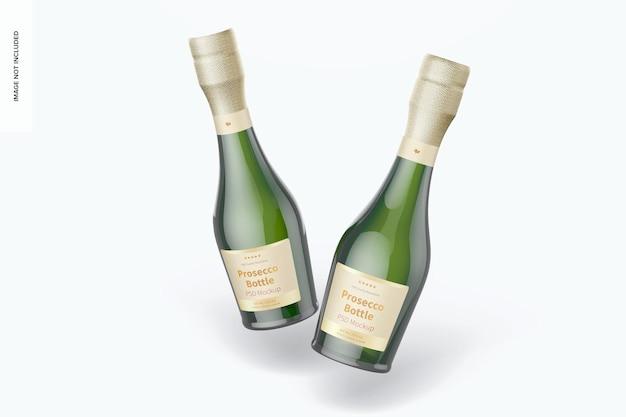 Maquete de garrafas de prosecco de 187 ml, caindo