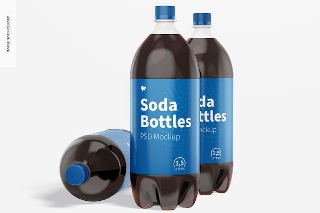 Maquete de garrafas de refrigerante de 1,5 l, em pé e caídas