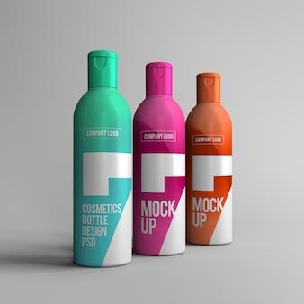 Maquete de garrafas de spray cosmético psd com design editável