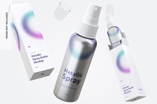 Maquete de garrafas de spray metálico de 4 oz com caixas de papel flutuantes
